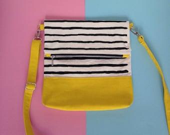 Screenprint Colour block Folding Crossbody bag - Striped pattern - Yellow