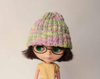 Blythe hat, Many colored hand knitted hat for Blythe doll from VolnaDollsClother, Hipster hat for doll, Yellow green lilac colors beanie