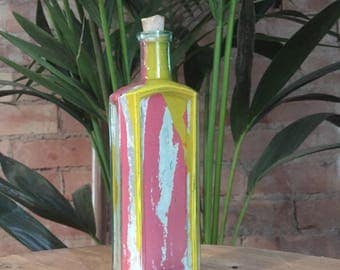 Vintage Hand Formed Painted Glass Bottle Pink/Yellow/Grey