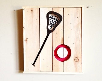 Wooden Lacrosse Sign from Reclaimed Wood