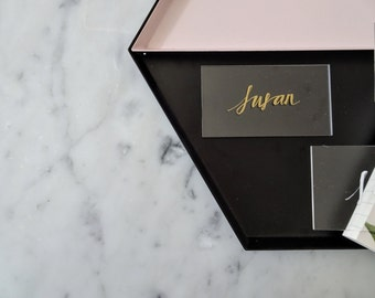 Metallic Gold Lettering Perspex Clear Place Card Custom Hand Drawn / Acrylic Name Signs / Modern Calligraphy / Party Wedding / 9cm x 5cm