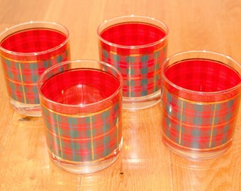 """Red tartan plaid drinking glasses set of 4 low ball scotch Crowning Touch 3.5"""" tall 3"""" diameter barware rustic lodge gold gilt"""