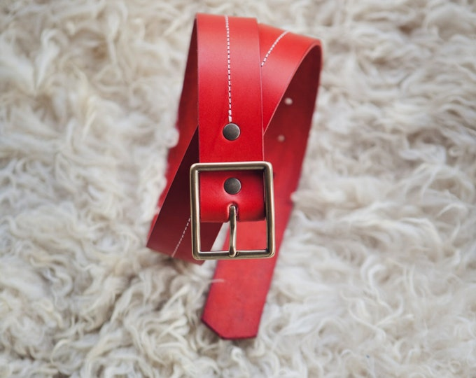 Red leather belt loop • Design by George • brass