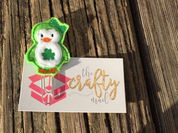 St. Patrick Penguin Clip/Planner Clip/Bookmark. St. Patrick's planner clips. St. Patty's