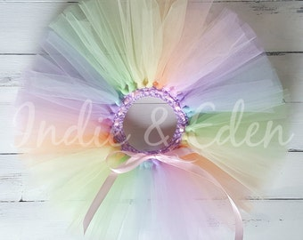 Rainbow Tutu Pastel colours for girls birthday photo prop cake smash baby toddler skirt