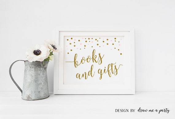 Books And Gifts Sign Pink And Gold Gift Table Sign