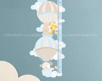 Kids Growth Chart Wall decals Baby Nursery Room Decor Growth Chart  Air-Balloon