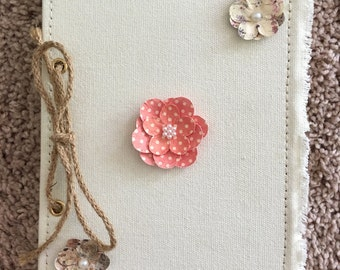 Fabric Covered Flower Notebook