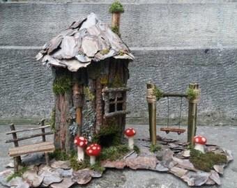 Tree fairy house, home decor wood house , fairy wood house ,little wood house,wooden swing ,wooden bench,100% eco
