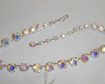 Beautiful Vintage Bezel Set Graduating Rainbow Aurora Borealis Crystal Link Necklace