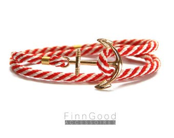 Anchor bracelet, Red striped with gold anchor, Nautical bracelet