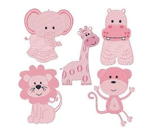 Baby Jungle Animal Machine Embroidery Designs, Elephant, Lion, Monkey, Hippo, Giraffe - Set of 5 Machine Embroidery Designs No: JG00041
