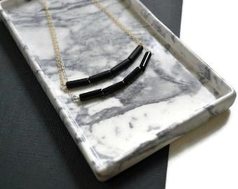 Short Onyx Stone Necklace | Modern Black Bar Necklace | Onyx Tube Necklace