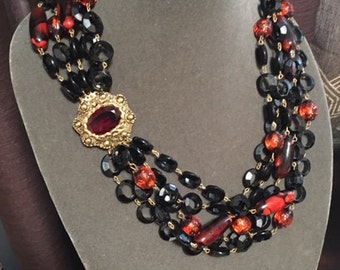 Vintage Multi-Strand Beaded Statement Necklace with jeweled clasp