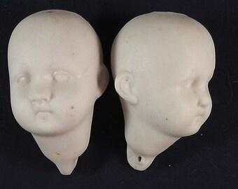 """lot 2x antique doll head, german , bisque porcelain, 573/4 , Thuringia, 2"""" / 5,2cm"""