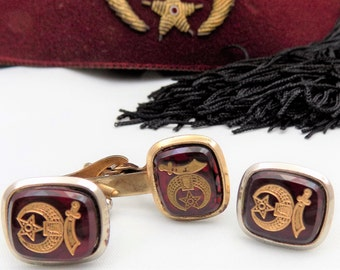 Shriner's Cufflinks and Tie Clip, Maroon Stone with Emblem, Gold Tone Metal, Shriner's Set
