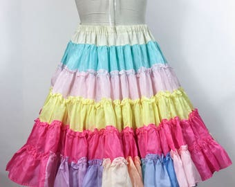 Vintage Rainbow Petticoat Ruffle Pastel Very Full Four Layers Swing Rockabilly Square Dance Full Ruffle Petticoat