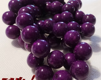 natural Fossil Beads dyed,Round, Dark Violet,Size: about 12mm diameter, hole,1mm