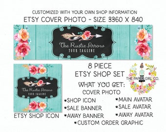 etsy shop banner set etsy cover photo set etsy branding set boho etsy set arrow etsy set premade etsy set shop icon shop avatar
