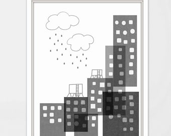 Big city nursery art- City illustration for kids room-Nursery print- Monochrome nursery art- nursery wall decor-Nursery art print