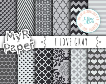 """Gray digital paper: """"I LOVE Gray""""  pack of backgrounds and patterns with  chevron, polka dots, stripes, dots, damask, quatrefoil, hearts"""
