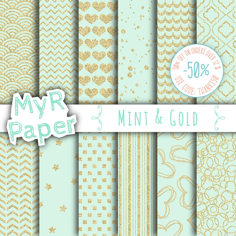 gold glitter digital paper mint gold glitter paper pack with chevron polkadots stripes. Black Bedroom Furniture Sets. Home Design Ideas