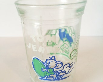 Tom and Jerry Glass, Tom and Jerry, Cartoon Glasses, Jelly Glasses, Jelly Jar Glasses, Gifts for Her, Gifts for Him, Mother's Day Gift