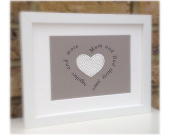 Custom Pearl Heart Couples Personalised Print Framed 10x7...Great Gift For Weddings or Anniversary. Choose your own wording