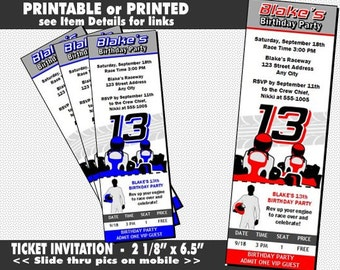 Go Kart Driver Ticket Invitation, Printable, Racing Theme, Go Cart Invites, Girl or Boy Birthday, Racing, Blue or Red
