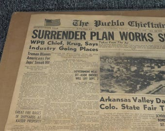 The Pueblo Chieftain August 31, 1945 76Th Year