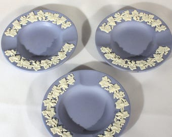 Set of 3 Wedgwood Blue Personal Ashtrays, Jasperware, Vintage, Tobacciana