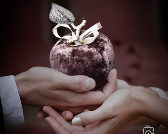 Decorative teddy Apple, lilac, with silver petal for an engagement or as ring bearer pillow during your wedding ceremony.