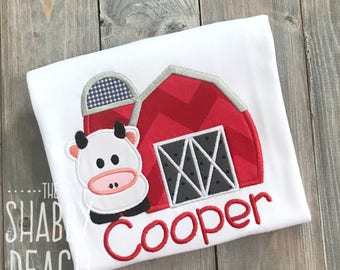 Farm Birthday Shirt, Barn Shirt, Barnyard First Birthday, Down on the Farm Birthday, Cow Applique, Barn Applique