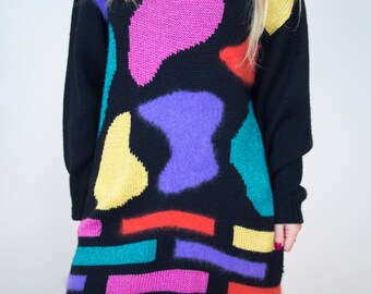 Vintage 80's Abstract Jumper Dress