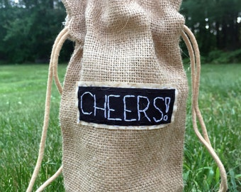 CHEERS! wine bag || Punny Wine Gifts Wine Glass Wine Glasses Wine Bottle Wine Box Wedding gift | Back Patch Punk Patch Punk Patches