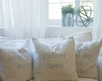 gather here grain sack style pillow cover. patches are optional.