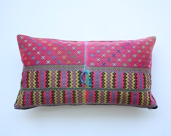"12"" x 22"" Vintage Ethnic Karen Hill Tribe Hand Woven Blouse Pillowcase, Vintage Fabric Cushion Cover /17.3"