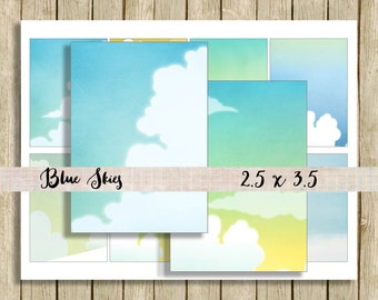 Sky digital paper backgrounds printable tag ATC instant download blue skies for scrapbooks journals and craft