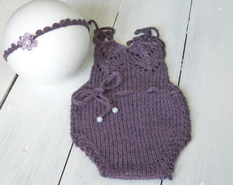 Romper bonnet newborn photography handmade creations MADE IN ITALY 100%