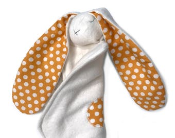 Personalized baby bunny lovey - orange polkadot - organic baby lovey - plush organic cotton; baby boy bunny lovey heirloom baby girl gift