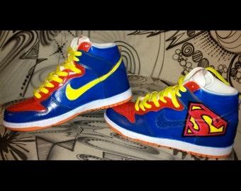"Custom Painted Nike Dunks High ""Superman"" theme Sneaker Art unique"