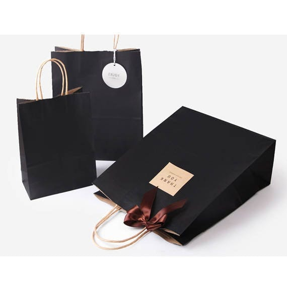 5 x Kraft Paper Bags with Handle / Black / Kraft Shopping Bags ...