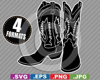 Cowboy / Western Boots Clip Art Image - SVG cutting file Plus eps(vector), jpg, & png