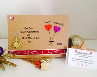 Our First Christmas As Mr & Mrs - Personalised Handmade Christmas Card - Wife First Christmas Card - Husband First Christmas Card
