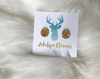 Funfetti Yellow 10 mm Earring Studs - Druzy Studs - Small Earrings