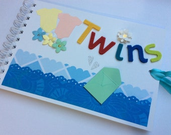 Baby Twins gift memory book scrapbook album, christening gift for twins, twins photo album book