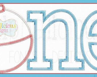ONE- Fishing Bobber Applique Font/Design- Satin- ZigZag