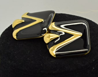 Vintage Black and Gold Monet Clip on Earrings