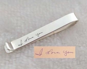 Custom Handwriting Tie Clip,Memorial Signature Tie Bar Clip,Handwritten Hidden Message Tie Clip,Handwritten Tie Tack,Father's Day Gift