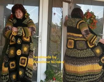 Women Hand crocheted LongCoat /Wool Coat Autumn  Colors/Bohemian Coat Warm ,soft and cozy /Cardigan -Oversize Adjustable Waist